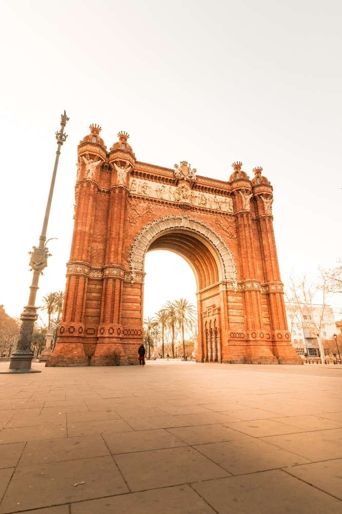 Arc de Triomfe in Barcelona during sunset