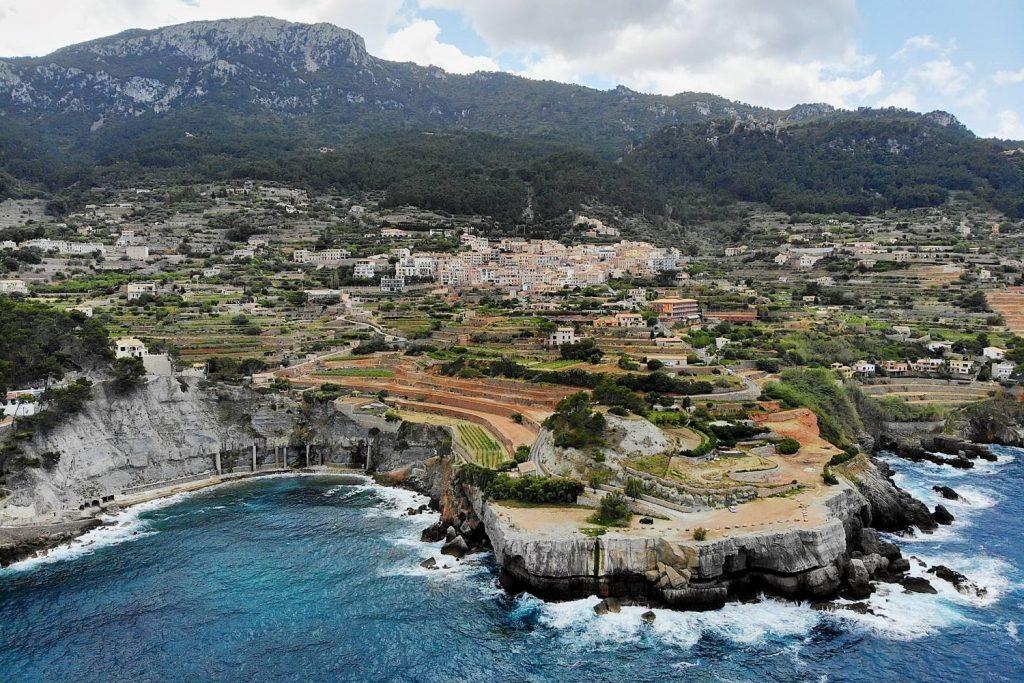 drone photo of Banyalbufar in Mallorca