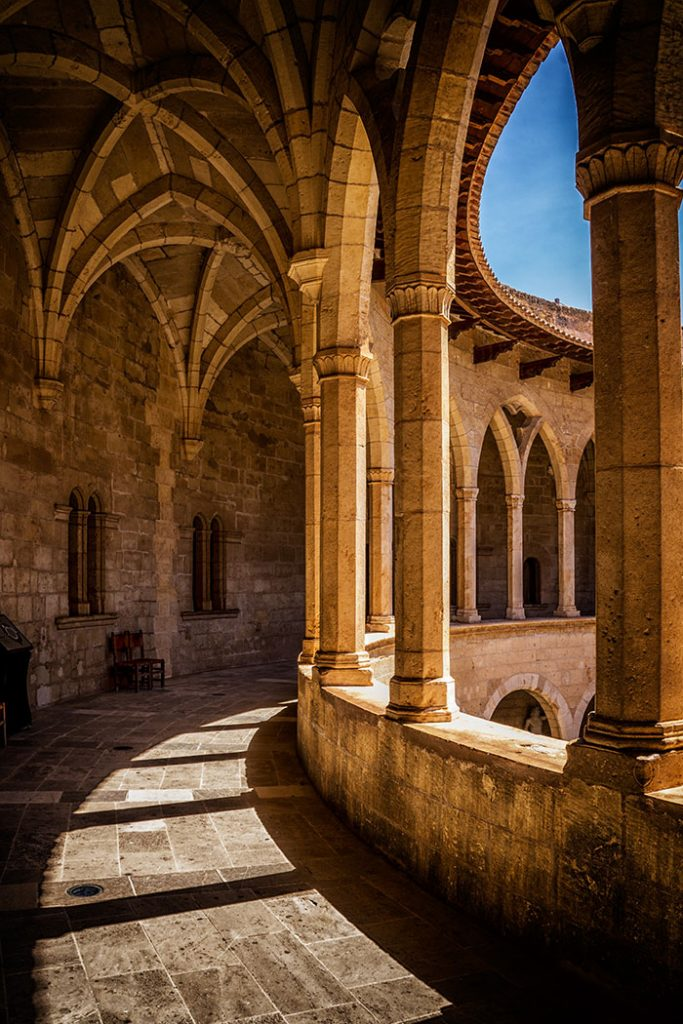 Archways at Bellver Castle in Mallorca