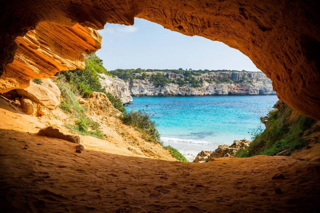 Secluded cave at Calo Des Moro