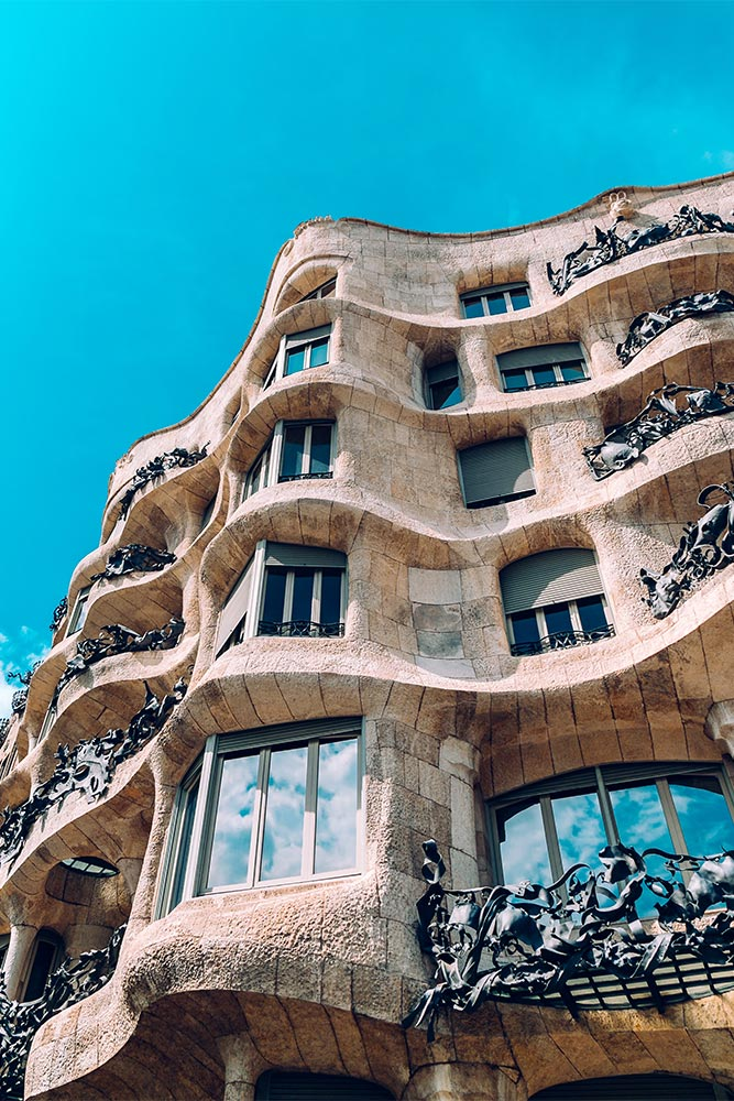 Casa Mila from underneath in Barcelona