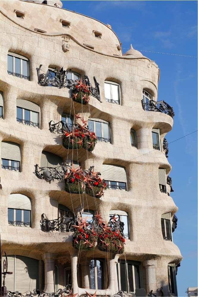 Architecture of Casa Mila by Gaudi in Barcelona