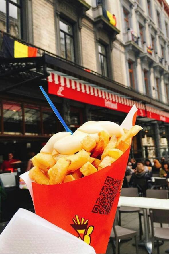 Fries in front of Fritland in Brussels