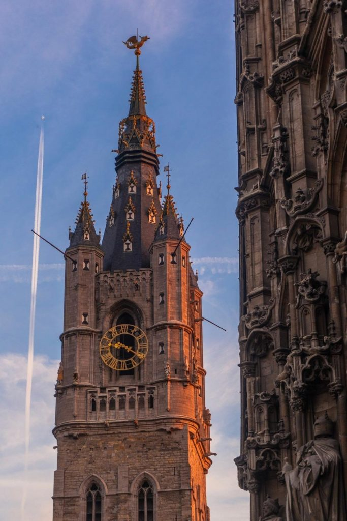 Close-up image of the Ghent Belfry, one of the best things to do in ghent