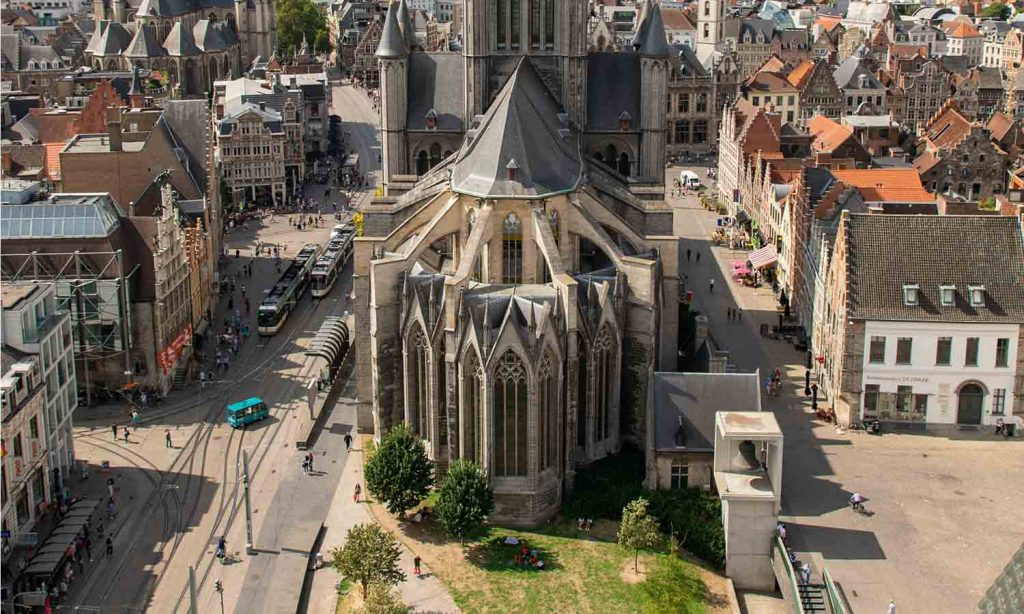 Drone photo of the St. Nicholas Cathedral in Ghent, Belgium