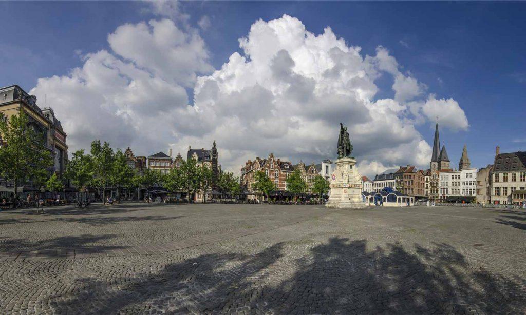 Photo of the square of Vrijdagmarkt in Ghent, Belgium