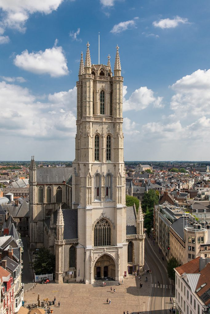 Drone photo of the St. Bavos Cathedral in Ghent