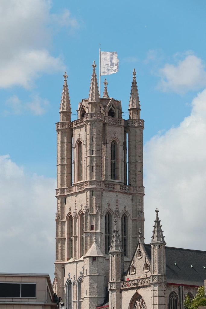 Close-up photo of the St. Bavos Cathedral in Ghent