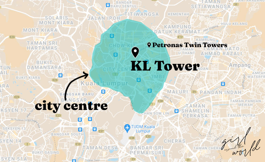 Map of Kuala Lumpur in Malaysia with KLCC and KL Tower signalled