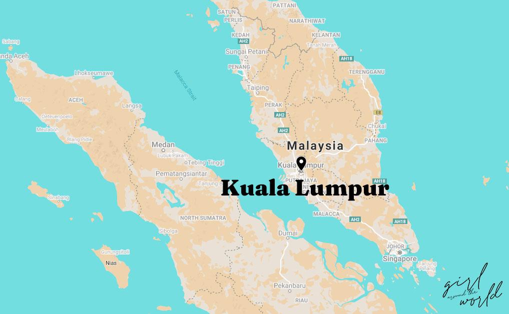 Map of Malaysia with Kuala Lumpur Signalled