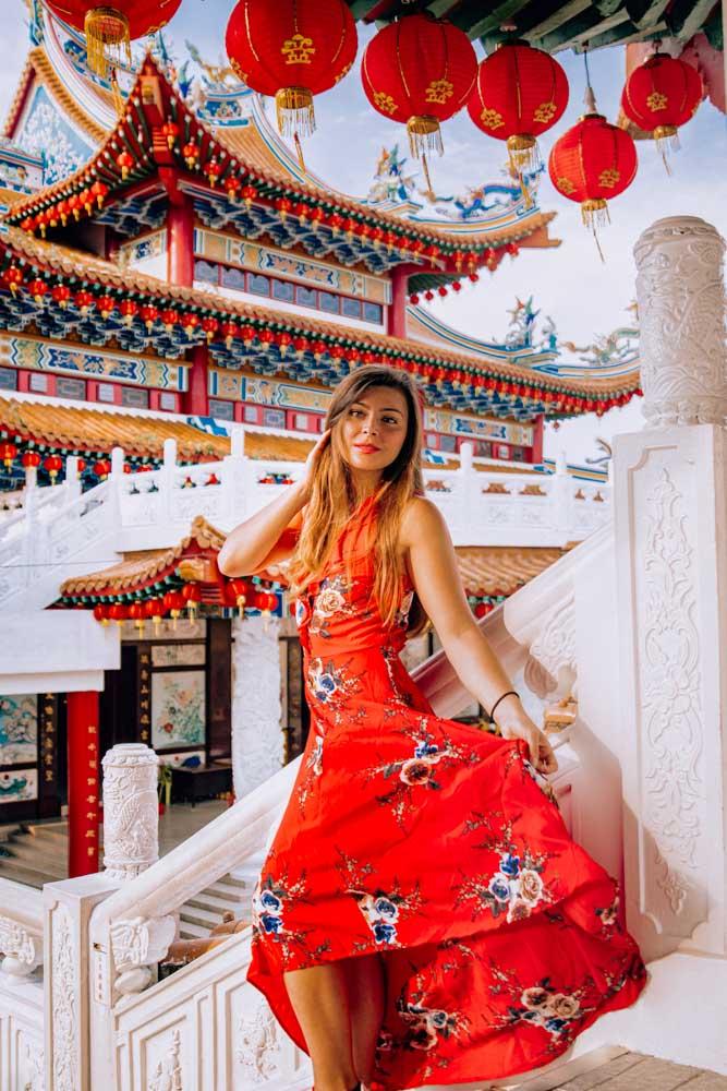 Melissa standing in the Thean Hou Temple in Kuala Lumpur Malaysia