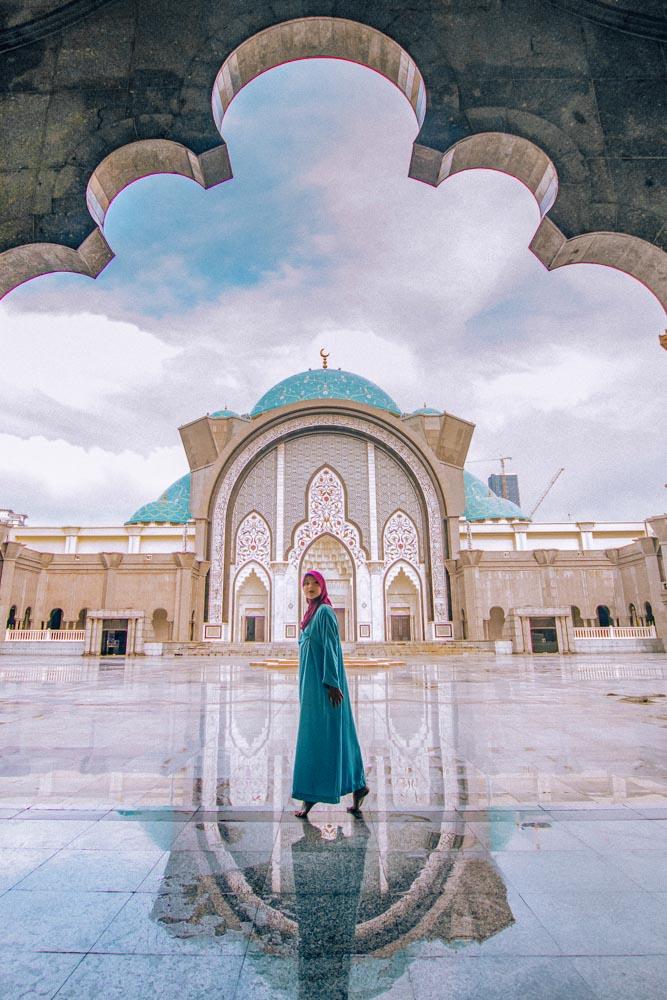 Melissa walks through the Wiliyah Mosque in KL.