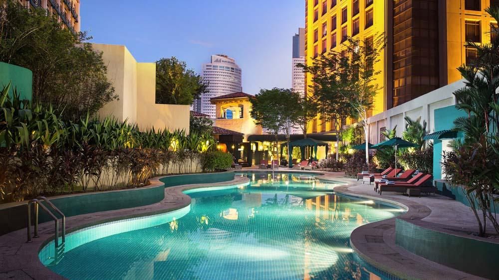 The pool facilities atthe Sheraton Imperial in Kuala Lumpur.