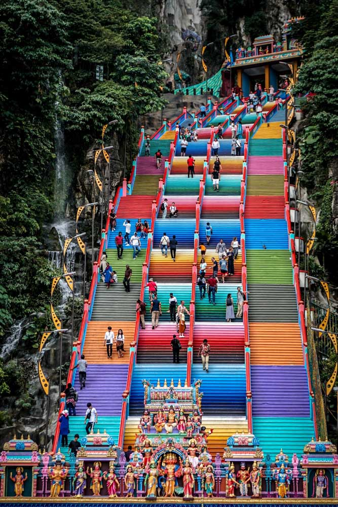 The colourful rainbow stairs of the Batu Caves.