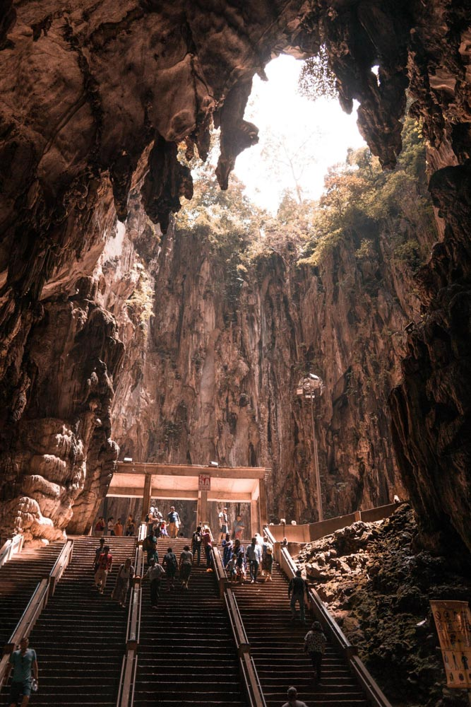 The inside of the Batu Caves in Malaysia