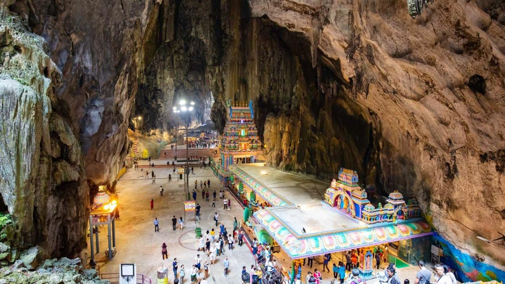The insides of the Temple Cave at the Batu Caves in KL.