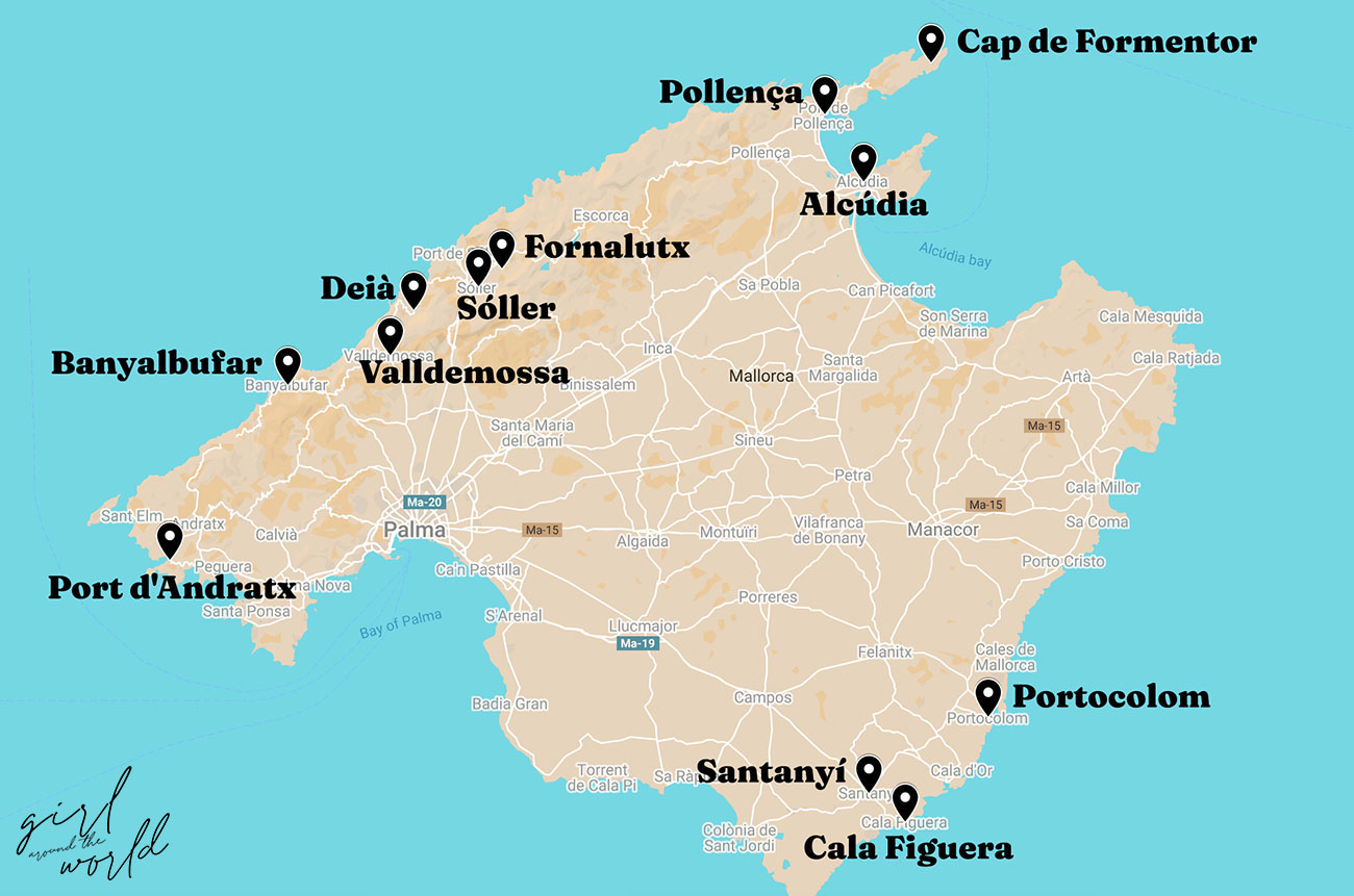 Map of Mallorca with the best towns to visit in Mallorca signalled