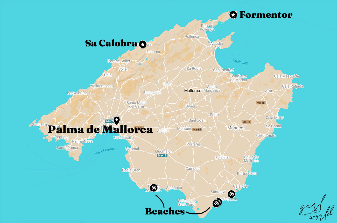 Map of Mallorca with Day Trips from Palma de Mallorca signalled