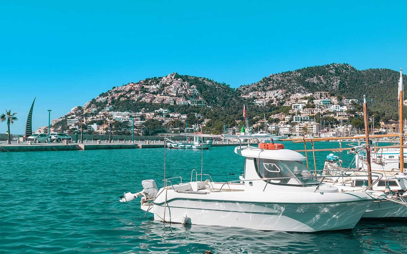 Boats at the Port d'Andratx in Mallorca Spain