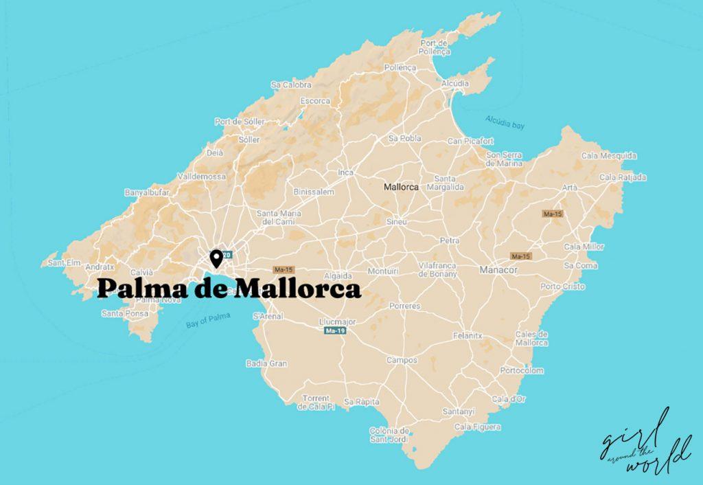 Map of Mallorca with Palma de Mallorca signalled