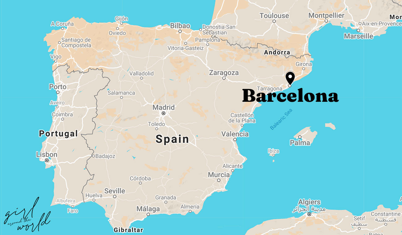 Map of Spain with Barcelona marked on the map