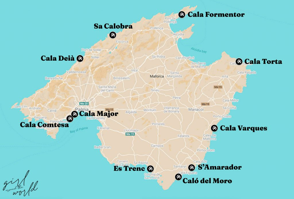 map of mallorca with the best beaches signalled on the map