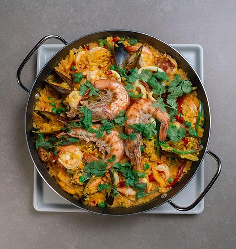 dish of Paella in Barcelona Spain