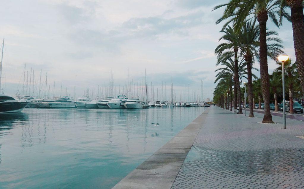 Boats at Paseo Maritimo in Palma de Mallorca