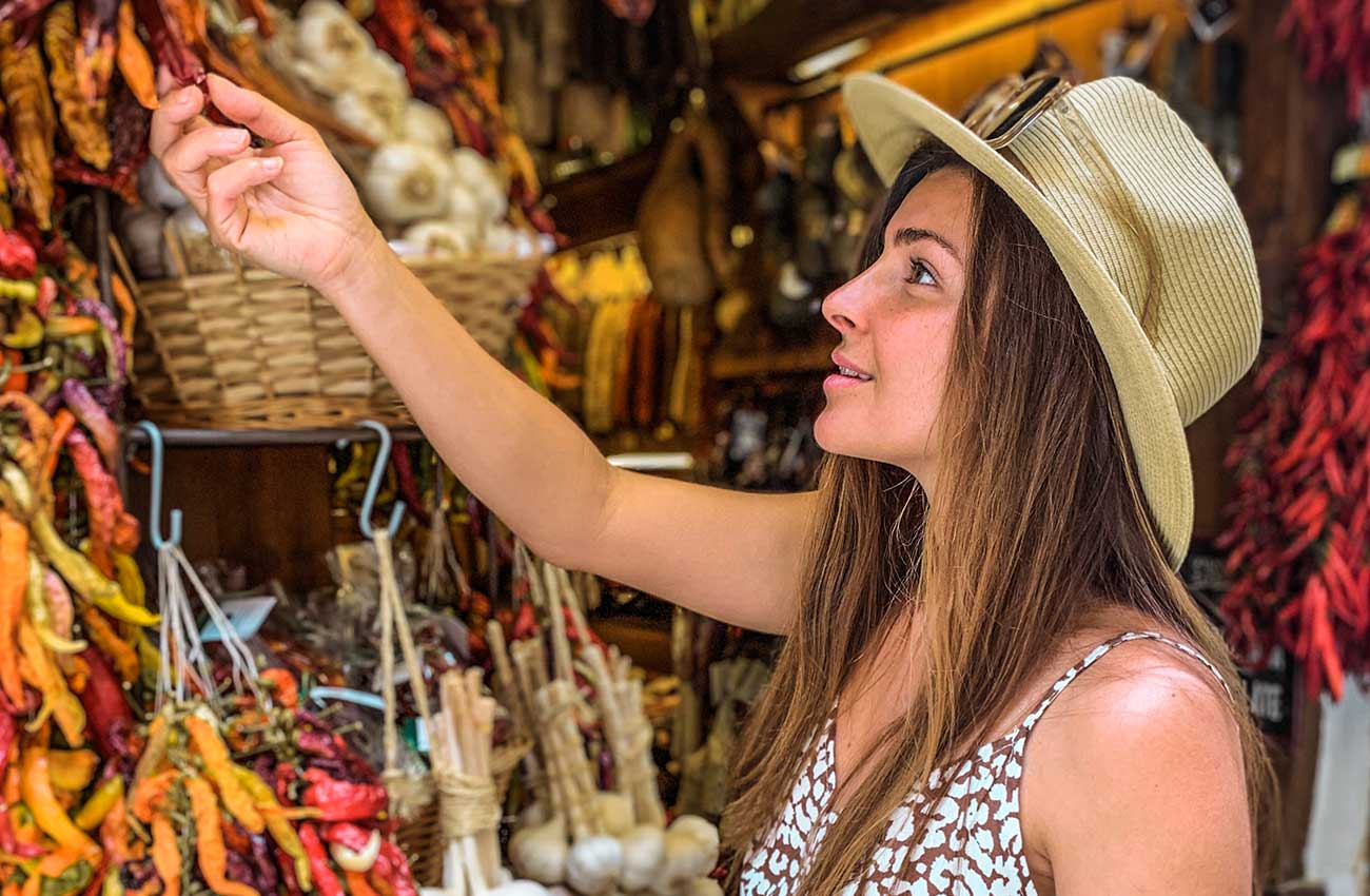 Melissa looking at items in the local markets of Palma de Mallorca