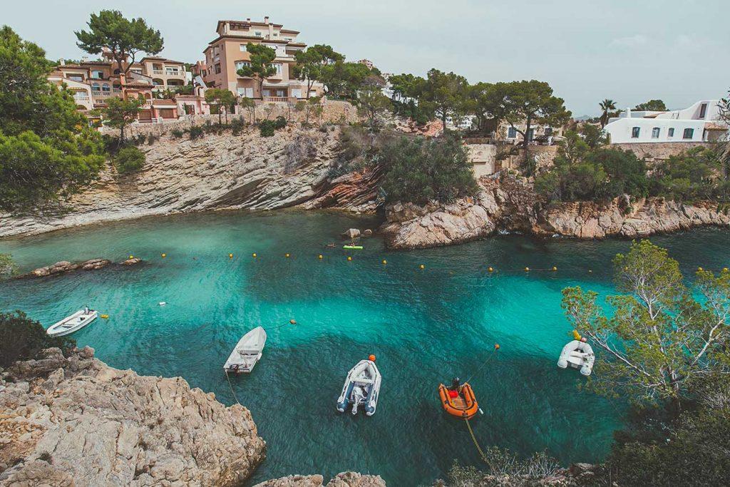 boats at a cala at Mallorca