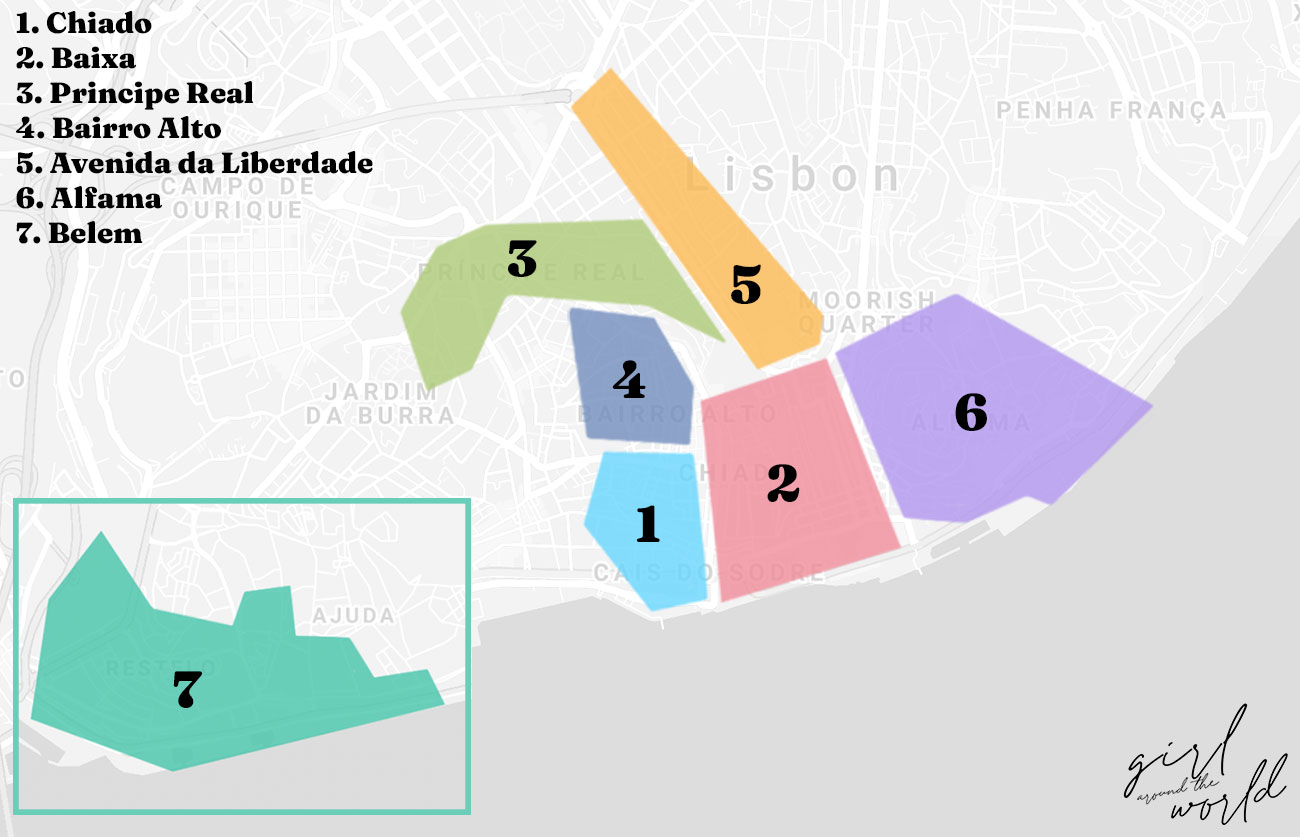 Map of Lisbon with the 7 best areas of where to stay in lisbon marked