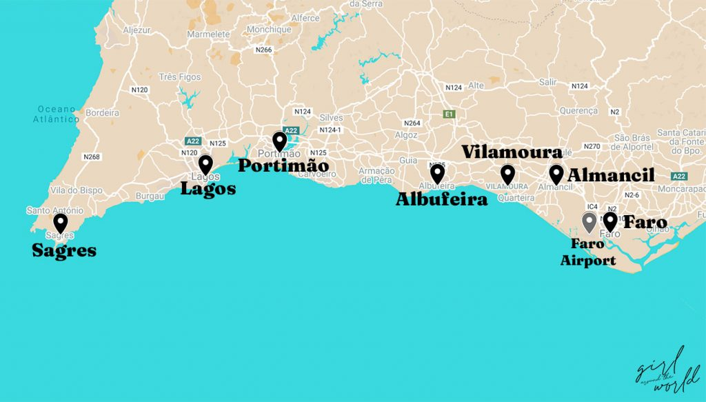 Map of the algarve with 7 towns in algarve marked on the map