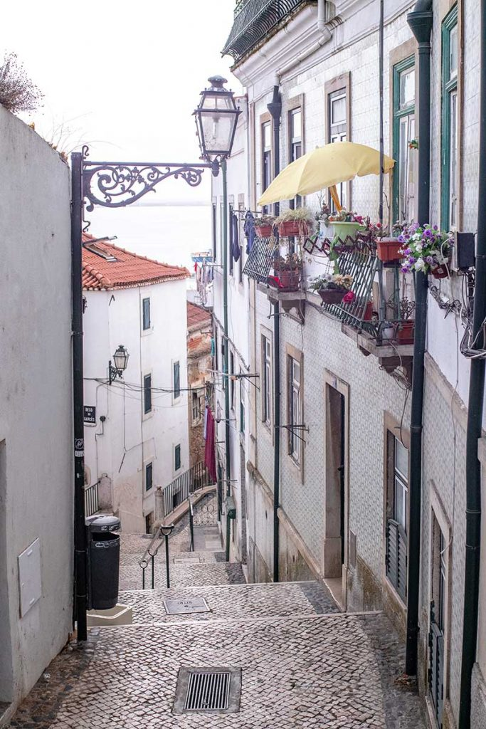 The cobbled streets of Alfama District in Lisbon Portugal