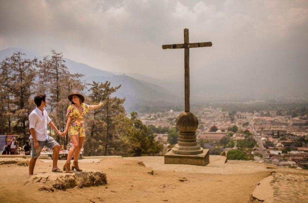 Girl Around. the World and Guga in front of the Cerro de la Cruz Viewpoint in Antigua Guatemala
