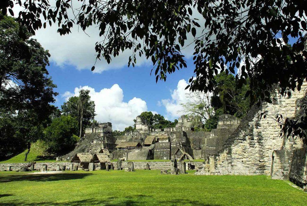 Tikal Ruins on a blue sky day
