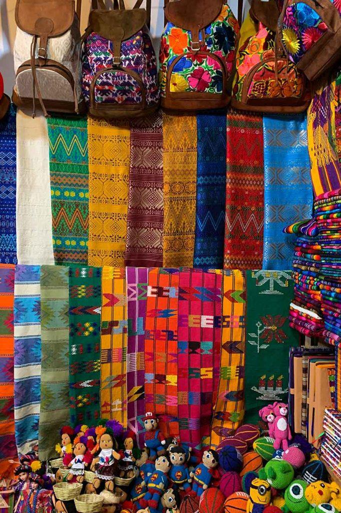 Guatemalan Textiles in Mercado market antigua