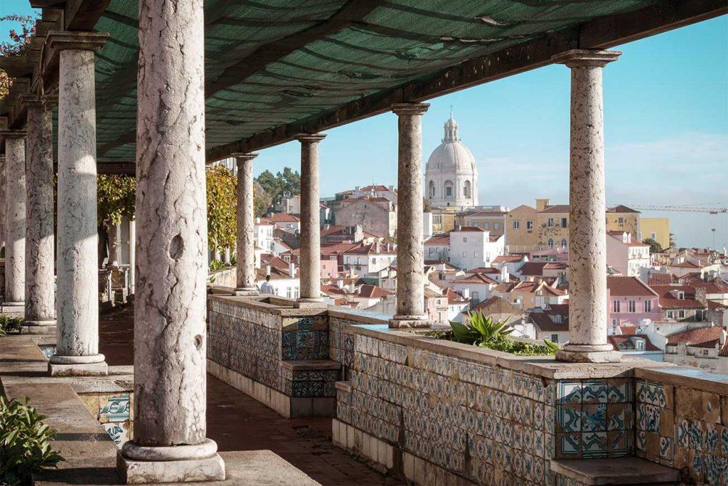 The vista of Miradouro de Santa Luzia in lisbon