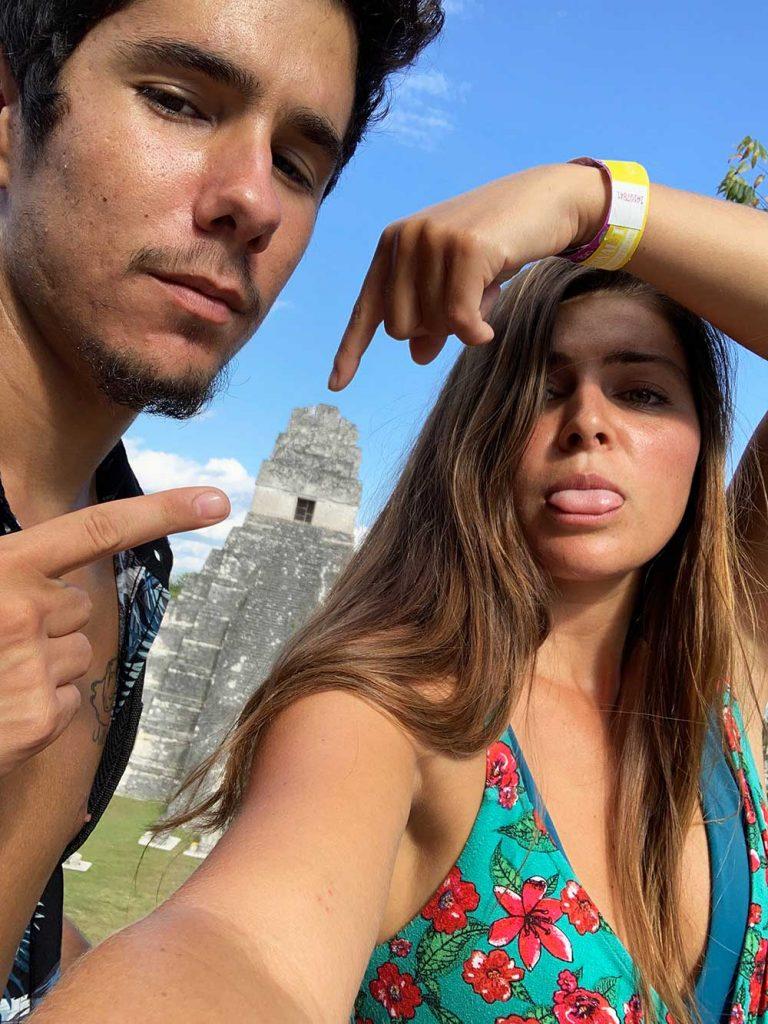 Melissa and Guga pointing to Tikal in Guatemala