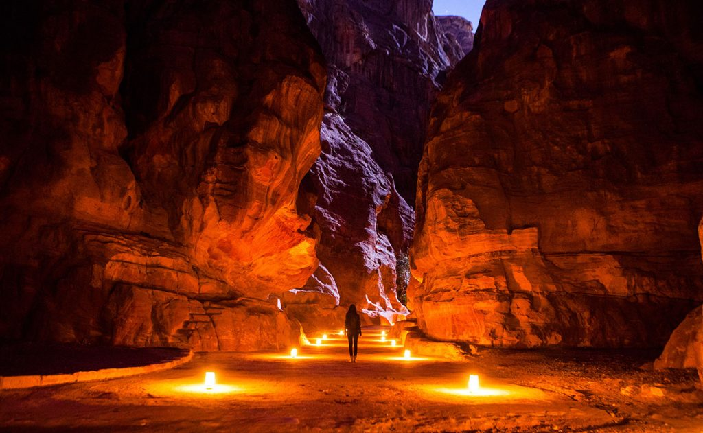 Petra at Night lit by candles