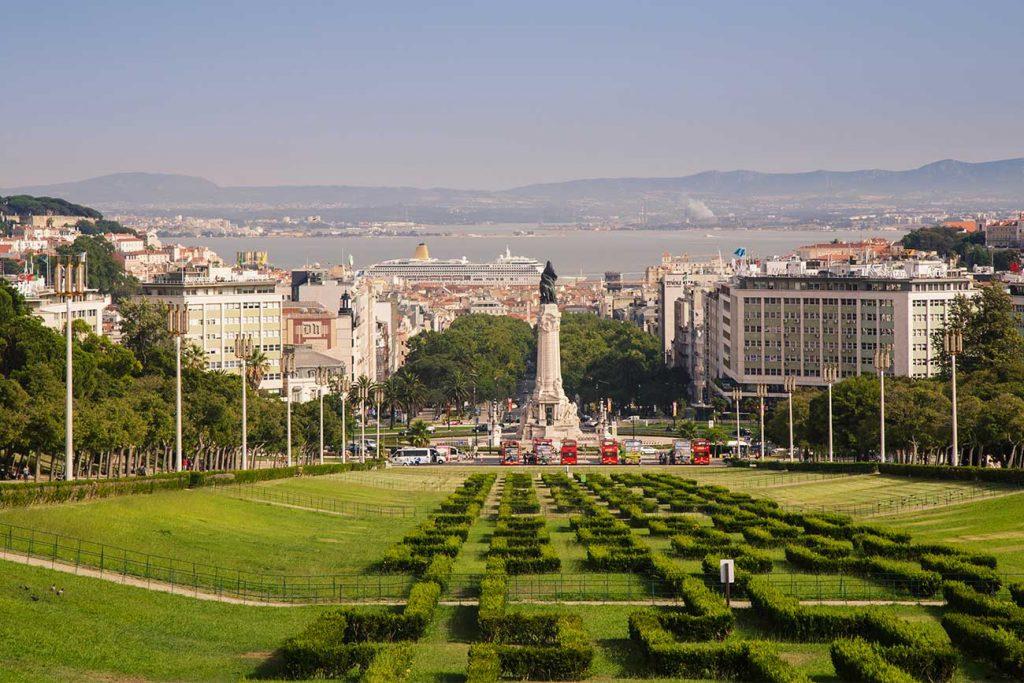 Park at the Avenida da Liberdade in Lisbon