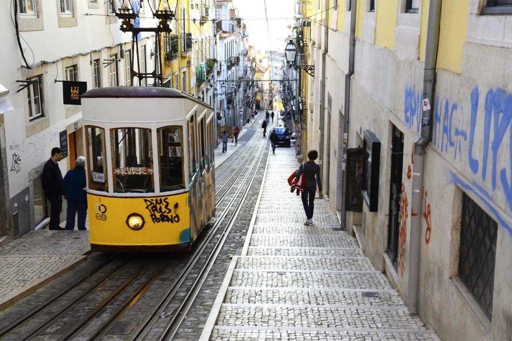 Streets of Bairro Alto in Lisbon