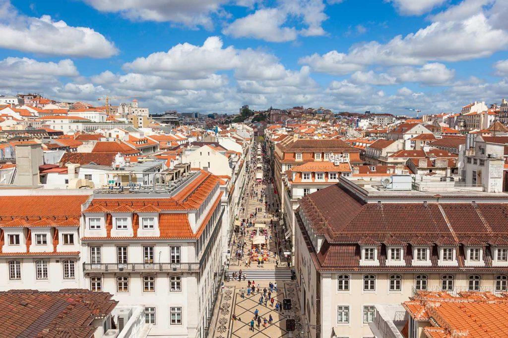 Birdseye view of Baixa Chiado area in Lisbon