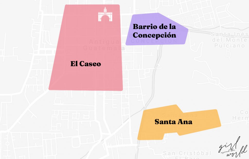 map showing the best areas to stay in Antigua Guatemala
