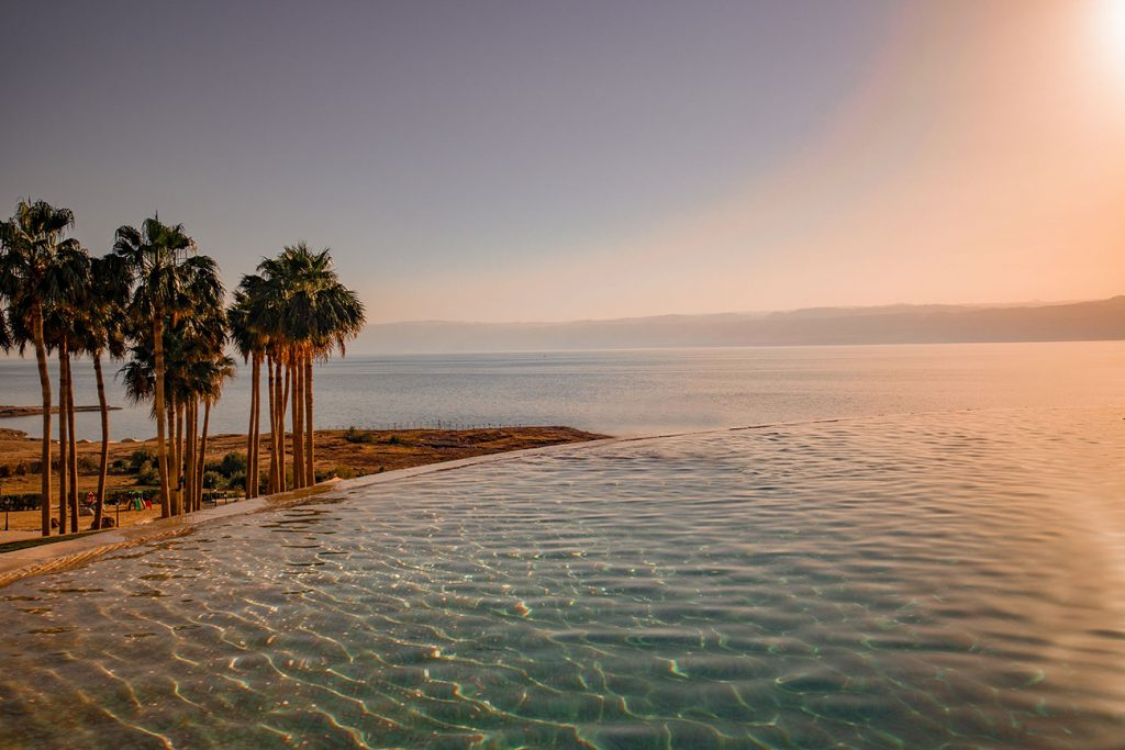 The pool at the Kempinski Hotel, overlooking the dead sea.