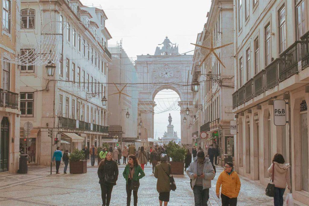 Chiado area leading to the terreiro do paço in Lisbon