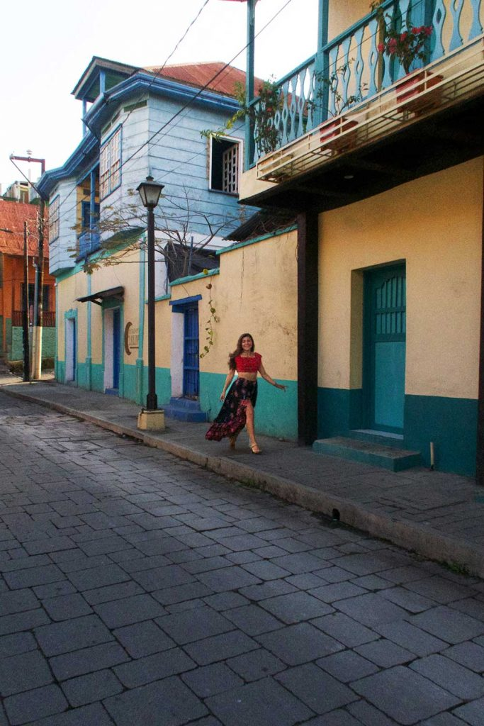 Melissa standing on a street in Flores Guatemala