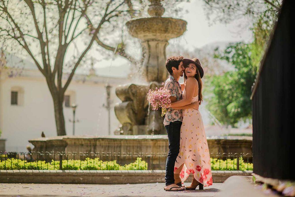 Melissa and Guga hugging in main square of Antigua Guatemala