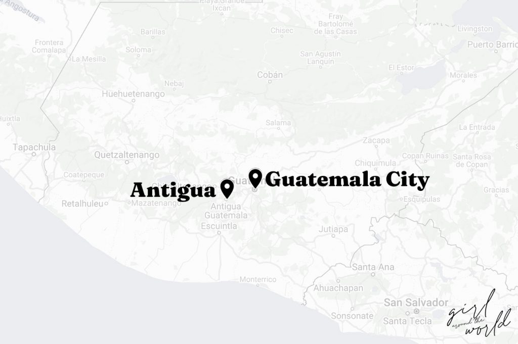 Map of Guatemala with Antigua and Guatemala City marked on the map