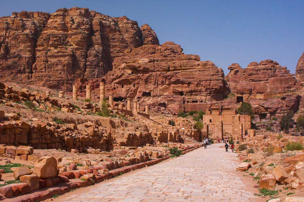 The Colonnaded Street in Petra Jordan