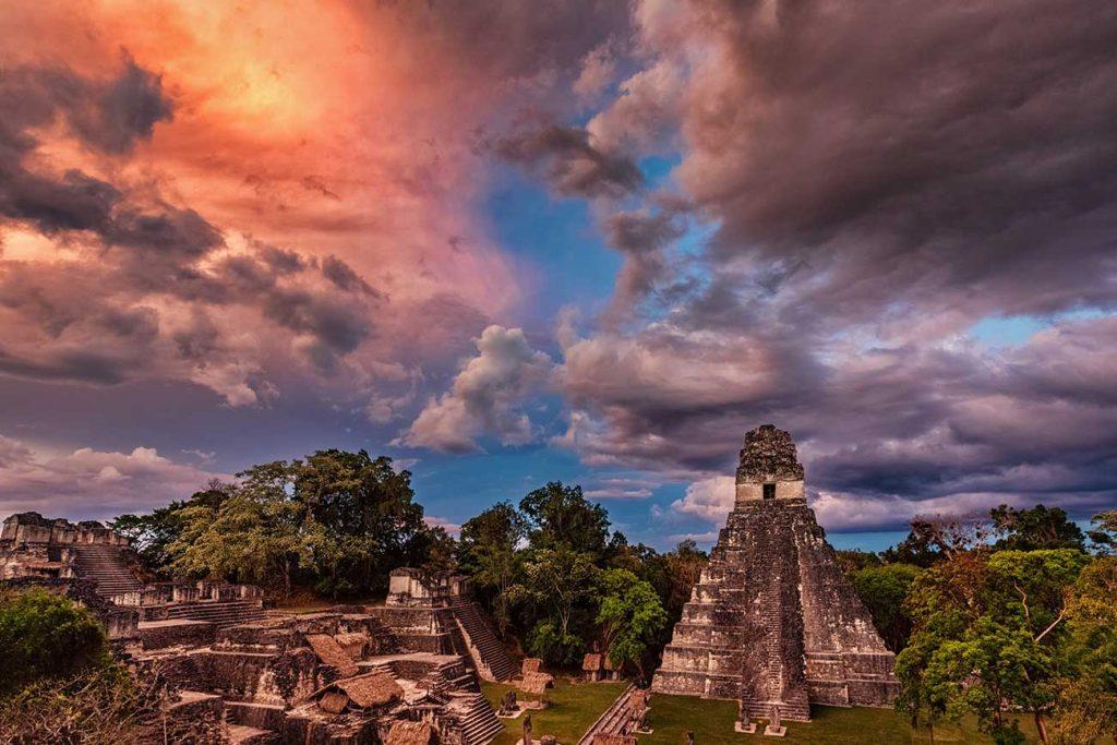 Tikal Ruins in Guatemala at Sunset